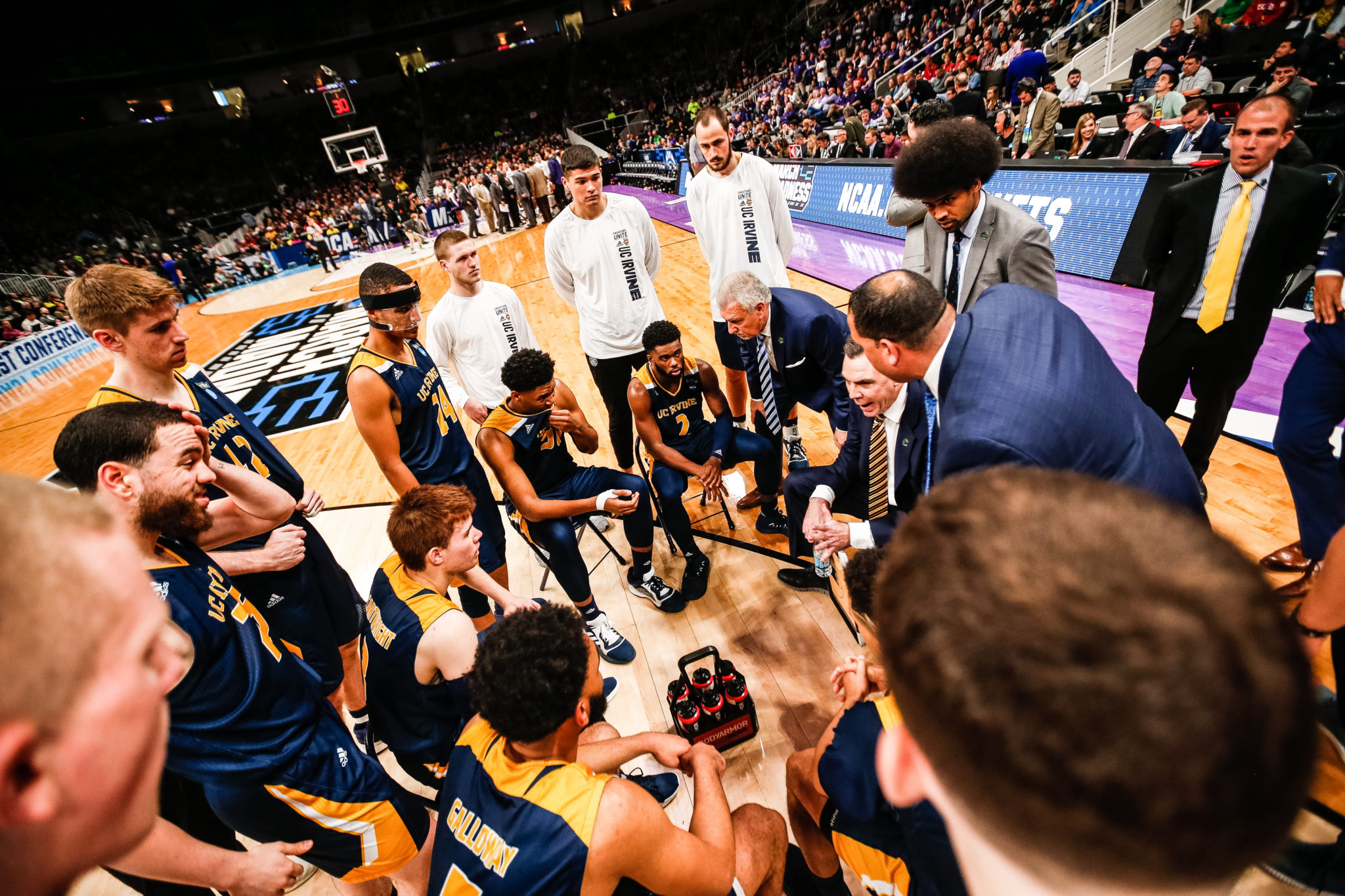461643214bc UCI Coach Russell Turner talks to his players during Friday s opening round  game against Kansas State. (Photo Duke Burchell